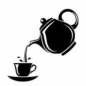 picture of black tea  - Black silhouette of porcelain teapot pouring tea in the cup - JPG
