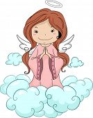 foto of cherubim  - Illustration of a Girl Angel Praying while Kneeling on the Clouds - JPG