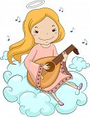 Illustration of a Girl Angel Sitting on Clouds Playing Lute