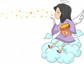 stock photo of cherubim  - Illustration of a Girl Angel Blowing Stars - JPG