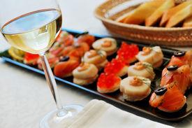 foto of gourmet food  - Still life with Sea Delicateses in restaurant  - JPG
