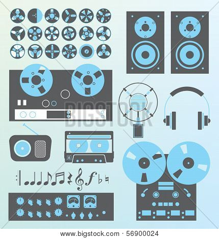 Vector Set: Retro Style Music Recording Equipment