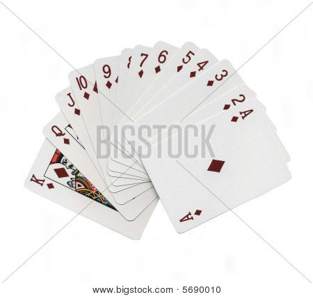 Suite of diamond playing cards