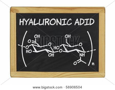 chemical formula of hyaluronic acid on a blackboard