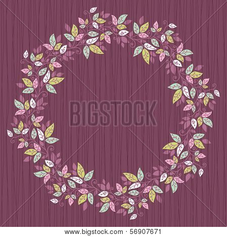 card with floral pattern. wreath of stylized leaves.