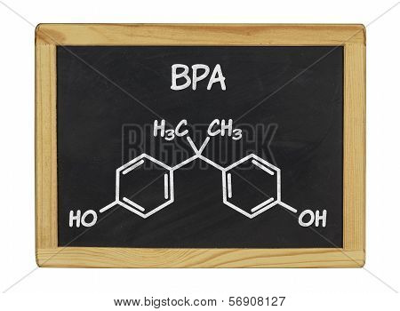 chemical formula of bpa on a blackboard
