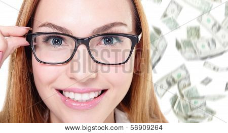 Business Woman Touch Eye Glasses With Money