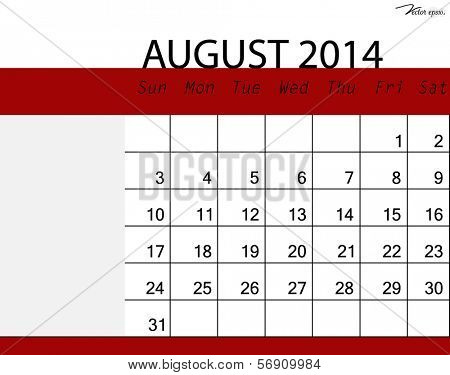 Simple 2014 calendar, August. Vector illustration.