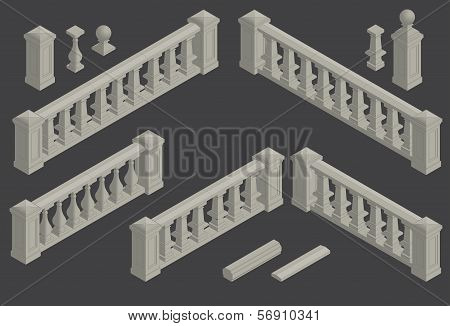set of architectural element balustrade, vector