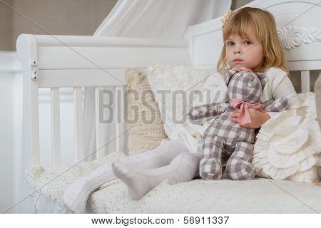 Sad Girl With Toy Bear.
