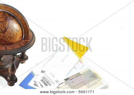 Old Wood Globe, Passport And Air Ticket With Baggage Check.