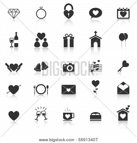 Wedding Icons With Reflect On White Background