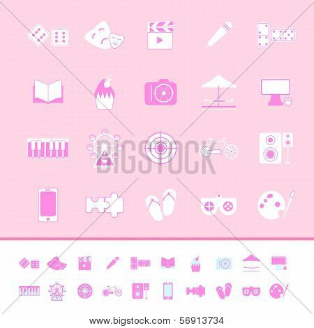 Entertainment Color Icons On Pink Background
