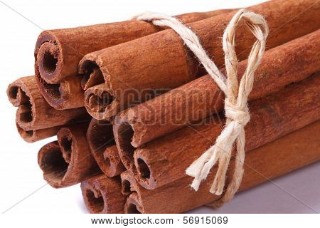 Bundle Of Cinnamon Sticks Closeup Isolated On White Background