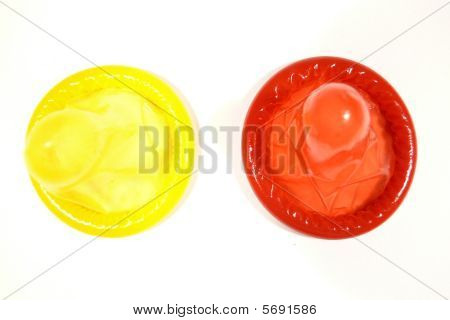 Yellow And Red Condoms