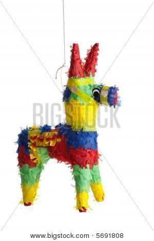 A Traditional Mexican Pinata On White