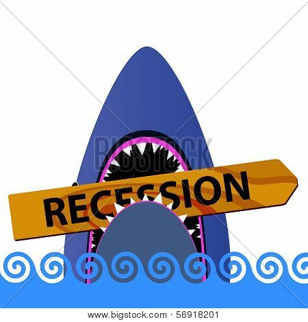 Recession With Shark Color Vector