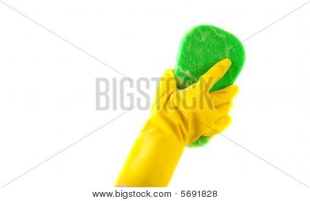 Household Chores - A Gloved Hand Washing With A Sponge