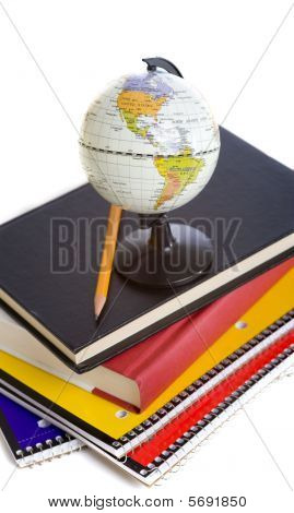 School Books And A Miniature Globe