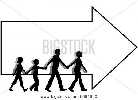 Family Mom Dad Kids Walk To Follow Arrow Copyspace