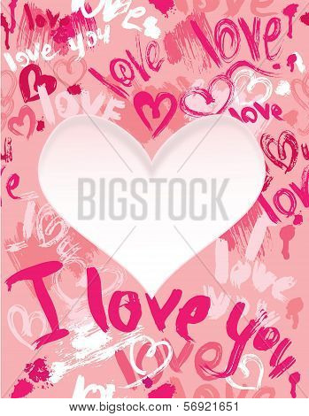 Background With Brush Strokes And Scribbles In Heart Shapes And Words Love, I Love You - Valentines