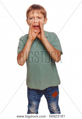 calling boy kids cries shouts teenager opened his mouth isolated