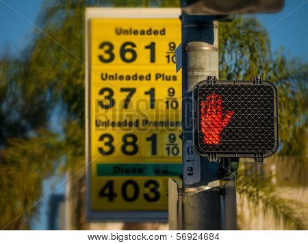 Gas station prices in Los Angeles, California.