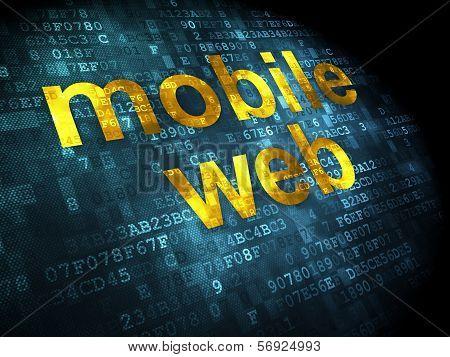 SEO web design concept: Mobile Web on digital background