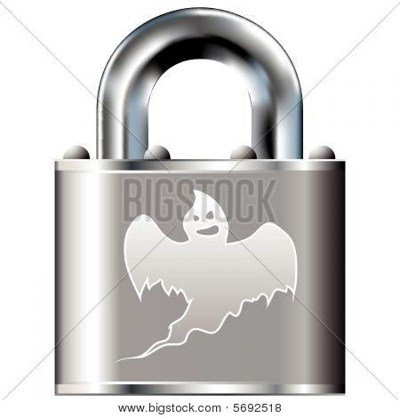 Halloween ghost on lock button