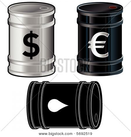 Oil barrel icon set