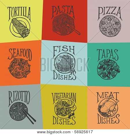 Colorfull menu icons - Dishes