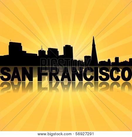 San Francisco skyline reflected with sunburst illustration