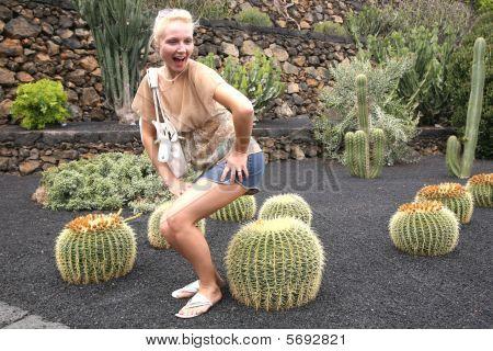 Girl Having Fun At The Cactus Garden