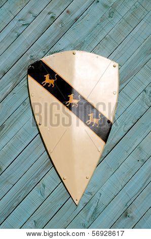 Heraldic shield on wooden background