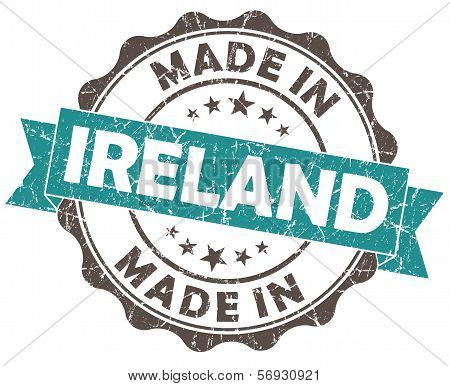 Made In Ireland Turquoise Grunge Seal Isolated On White Background
