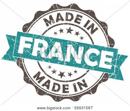 Made In France Turquoise Grunge Seal Isolated On White Background