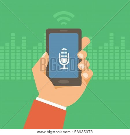 Vector Mobile Phone In Flat Style - Voice Control