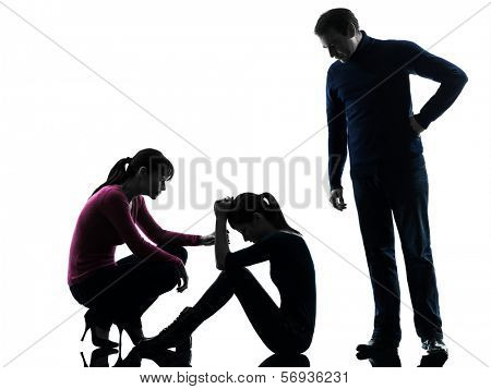 one caucasian family father mother consoling daughter in silhouette studio isolated on white background