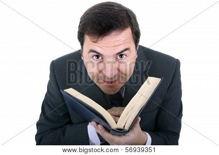 Business Man With Notebook In White Background