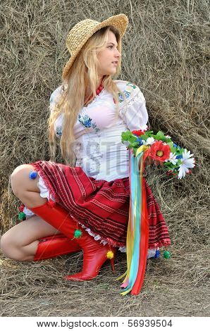 Ukrainian Teenage Girl In Traditional Clothes