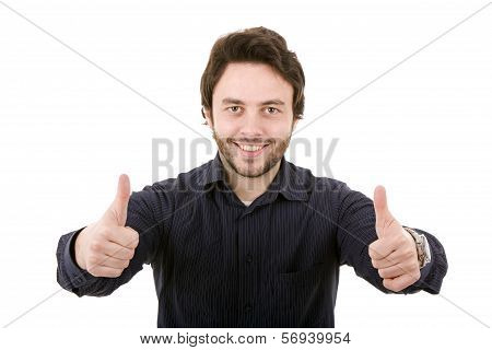 Young Casual Man Going Thumb Up On A White Background