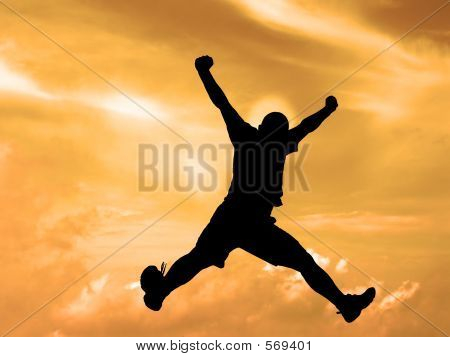 Jumping Silhouette Sunset Sky-clipping Path