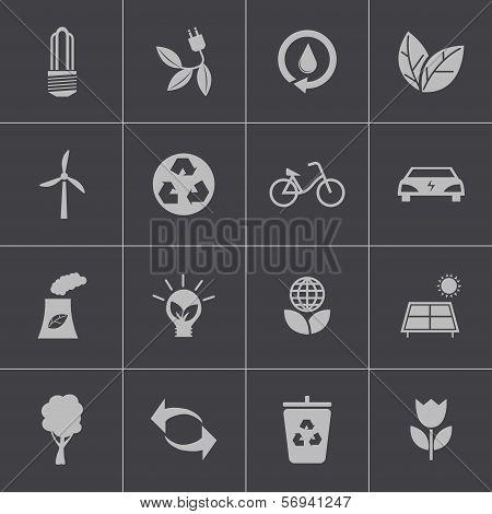 Vector black  eco icons set
