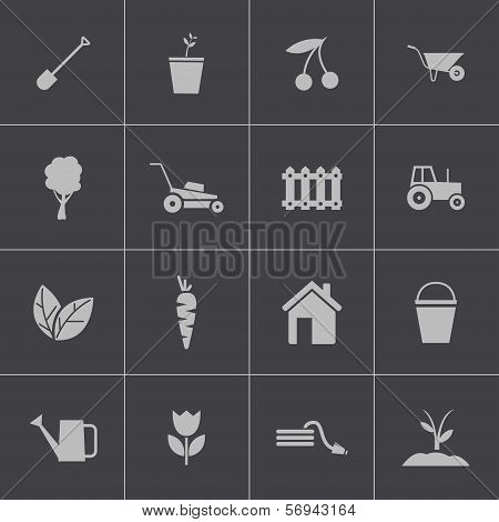 Vector black  gardening icons set