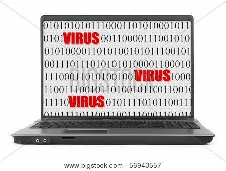Laptop With Virus Screen On White Background