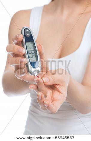 Diabetes Patient Woman Measuring Glucose Level Blood Test