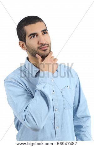 Arab Casual Man Thinking And Looking Above