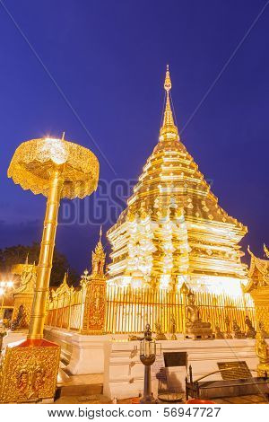 Night Light Wat Phrathat Doi Suthep Temple Of Thailand At Chiangmai City.