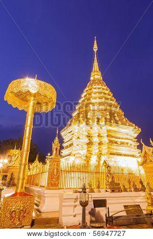Night Light Wat Phrathat Doi Suthep Temple Of Thailand At Chiangmai City.