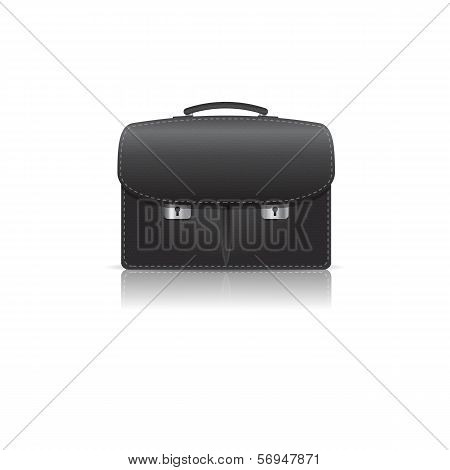 Isolated  Black Leather Briefcase Made From  Crocodile Skin